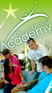 The Learning Academy logo, graduate cheering