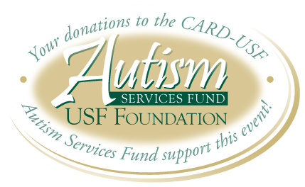 Stamp reading: Autism Services Fund. Your donations to the CARD-USF Autism Services Fund support this event!