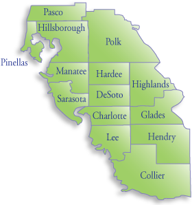 Map of CARD-USF's 14-county service area.