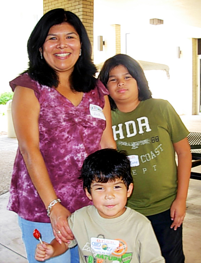Hispanic Family. Mother and two boys.