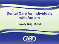 Dental Care for Individuals with ASD, cover